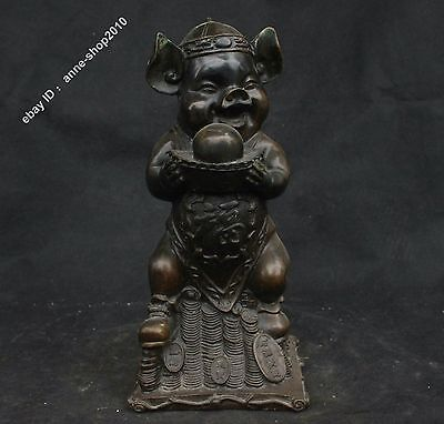 "13"" China Old Antique Pure Bronze Wealth Yuanbao Foo Fu Pig Hog Animal Statue"