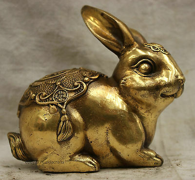 Chinese China Folk Culture Handmade Bronze FengShui Lucky Geely Rabbit Statue