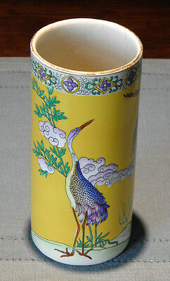 English asian-style chinoiserie cylindrical vase. Cetem Ware 1920s 1930s