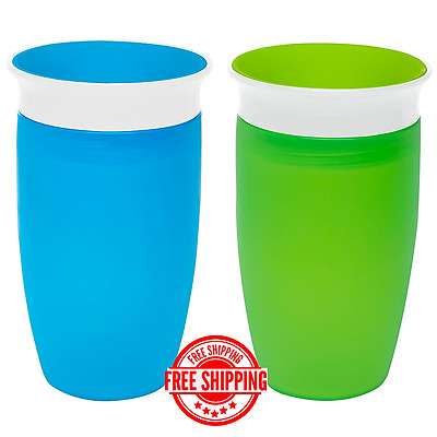 Munchkin Miracle 360 Sippy Cup, Green/Blue, 10 Ounce, 2 Count-FREE SHIPPING