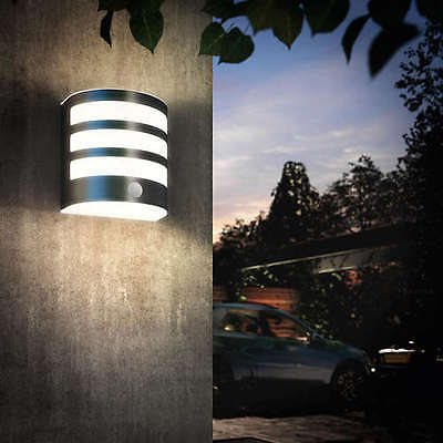 Philips Calgary Stainless Steel LED Outdoor Flush Wall Light with PIR 173154716