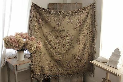 Vintage French tapestry woven tablecloth table cover textile c 1920