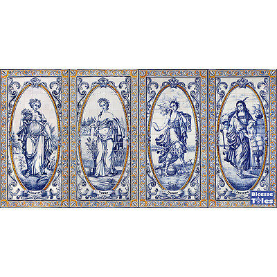 Portuguese Azulejos Tile 4X Panel Mural FOUR SEASONS SPRING SUMMER AUTUMN WINTER