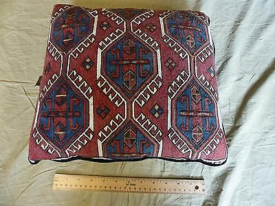 "Antique Handmade 19th Century SUMAK SADDLE BAG RUG PILLOW Oriental - 15"" x 13"""