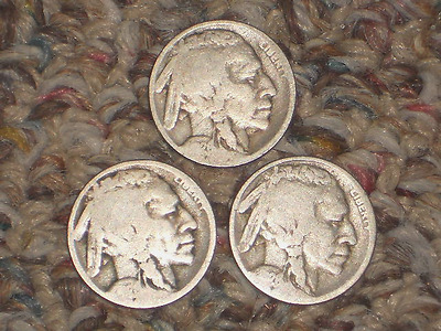 1926, P-D-S Buffalo Nickels, Circulated Lot of 3
