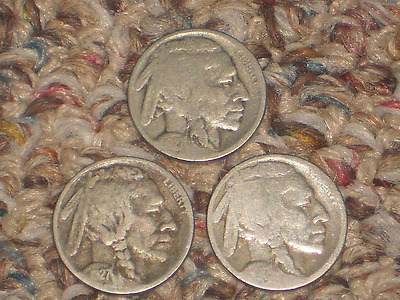 1927, P-D?-S Buffalo Nickels, Circulated Lot of 3