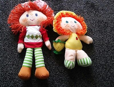 vintage strawberry shortcake and apple dumpling with turtle rag dolls soft plush