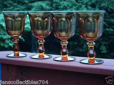 IMPERIAL GLASS Ohio 4 pcs OLD WILLIAMSBURG Amber Iced Tea Beverage Goblet Glass