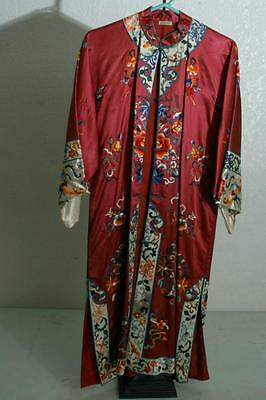 Antique Chinese Embroidered Robe Kimono Silk Embroidery Peonies Oriental