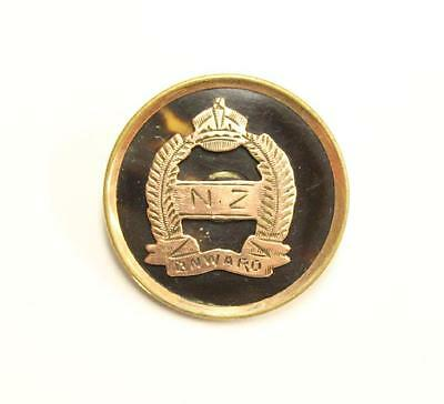 WWI Sweetheart Pin New Zealand N.Z. ONWARD 10K Gold on Tortoiseshell Brooch