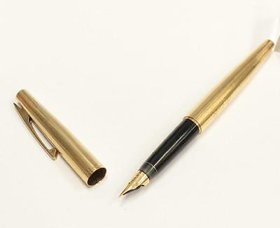 Authentic Sheaffer Imperial Gold Fountain Pen White Dot Vertical Lines 14K Nib