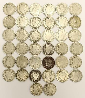 1887 to 1912 USA Liberty Head 5 Cents 15 different dates 35 Coins AG-VG+