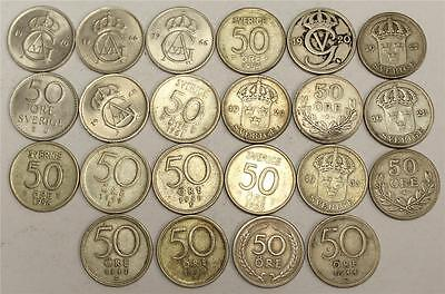 1920 to 1973 Sweden 50 Ore 26 coins 23 different dates VG to CH.AU+ see list