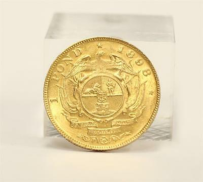 1898 South Africa Gold Pond coin CH AU50+ authentic Original patina 7.98 grams