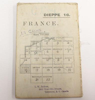 Dieppe France WW1 linen War Office 1916 colour map 33.5 x 25.5 inches