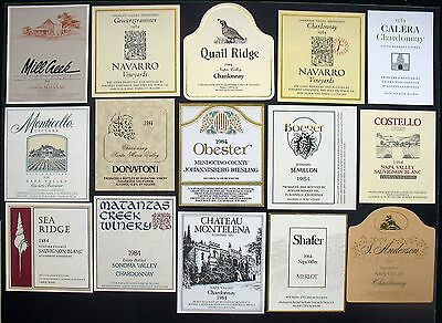 15 Authentic Vintage 1984 Unused Wine Labels from California Wineries