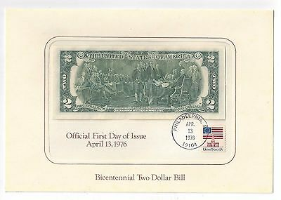 Bicentennial Two Dollar Bill * Official First Day of Issue *  April 13, 1976