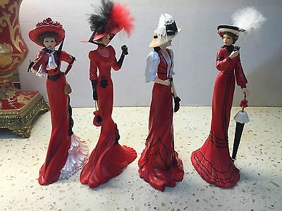 Coca-Cola Elegance Collection Red Hat Lady Figurines 7'' tall Lot of 4