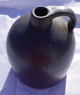 EXTRAORDINARY Moonshine Pony Tail Handle Brown Beehive Salt Glaze Stoneware Jug