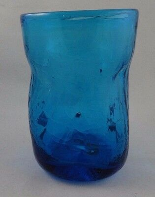 Vintage 5 inch tall BLENKO pinched crackled Blue dimpled Glass Tumbler