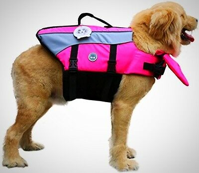 Dog Life Jacket Medium with Grab Handle and D-Ring Adjustable Nylon Straps, Pink