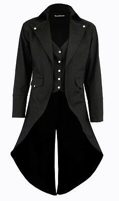 """BANNED"" Men's Black Cotton Twill STEAMPUNK TAILCOAT Jacket Goth Victorian Coat"