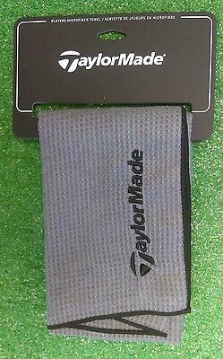 "TaylorMade Microfiber Players Towel Grey Black 40""x17"" NEW Golf Accessory"