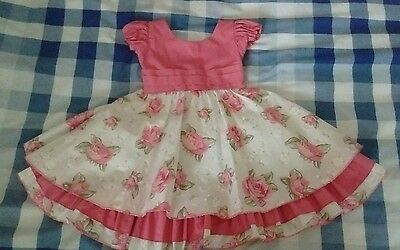Pink Floral Baby Girl Summer Party Dress Size 12 Months