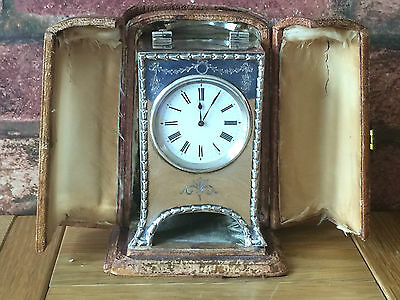 Rare Antique 1908 Art Nouveau Silver Table Clock & Original Case William Comyns
