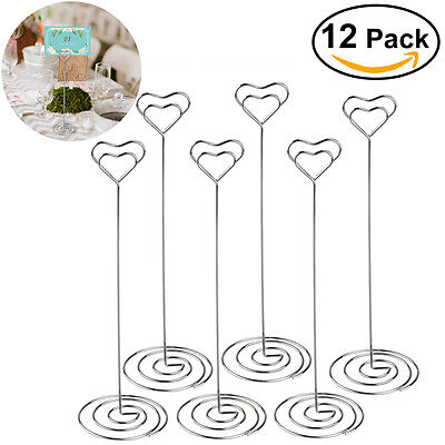 12pcs Heart Pattern Table Number Name Card Holders Photo Stand Note Memo Clip