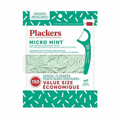 Plackers Mico Mint 150 Pack Re-Sealable Bag Dental Floss