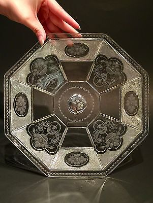 ABP Signed Sinclaire Plate With Intaglio Cutting Corning N. Y. ca. 1915