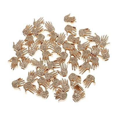 50pcs Metal Gold Palm Shaped String Cord Lock End Caps Toggle Stops End 15mm