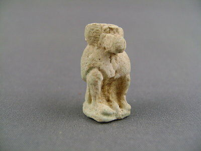 Ancient Egyptian Faience Baboon Amulet of Thoth Ex Gustave Jéquier (1868-1946)