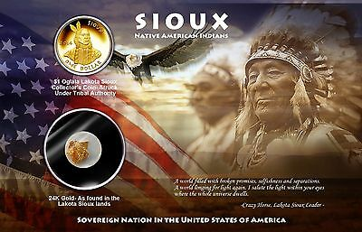 First issue Sioux dollar & real 24k gold leaf- blister pack honoring Black Hills