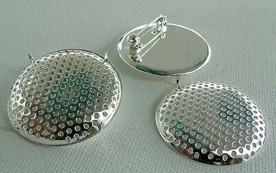 Silver Plated Sieve Seive Shower Brooch Round  38mm  x 1