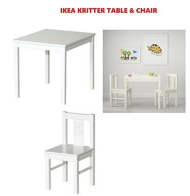 IKEA KRITTER Children's table,& chair white 59x50 cm Fast & Free delivery new