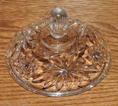 "VINTAGE ANCHOR HOCKING EAPC CLEAR GLASS LID to a 5-1/8""d CANDY BOWL"