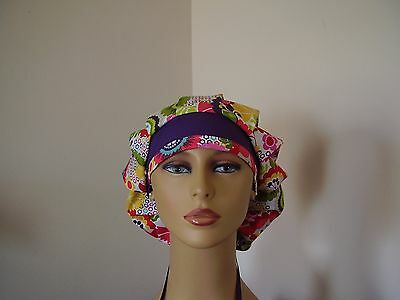 Bouffant/Ponytail Combo Scrub Hat- Floral-Multi color - One size
