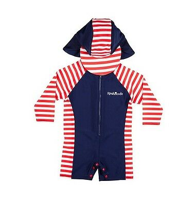 Rashoodz Boy Swimwear Nautical Long Sleeve Rashie Suit and Hat Set Baby Size 00