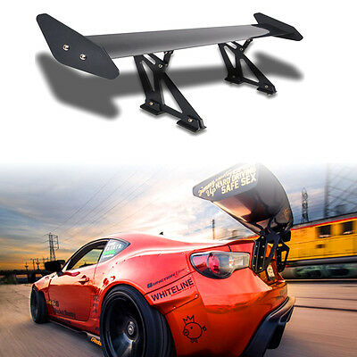 CA Universal Aluminum Adjustable Light Weight GT Rear Racing Spoiler Wing Black