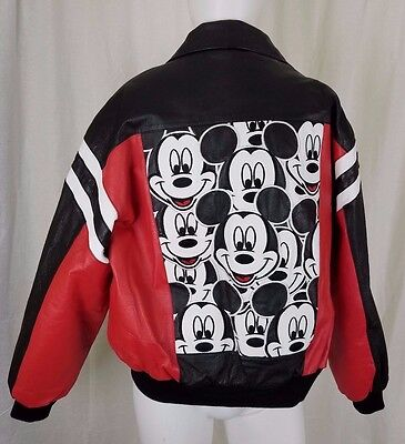 Mickey Unlimited Black Leather Bomber Jacket Disney Mickey Mouse Applique Mens L