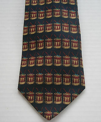 Brooks Brothers Navy Early American Snare Drums Mens 100% Silk Tie