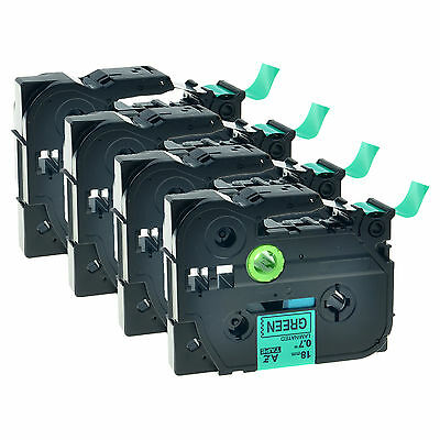 """4 Pack TZ-741 TZe-741 Black on Green Label Tape For Brother P-touch 3/4"""" 18mm"""