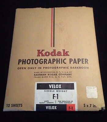 Kodak 5x7 Photographic Paper VELOX F-1 Single Weight Vintage Film