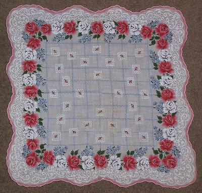 Vintage Women's Handkerchief, Red And White Roses