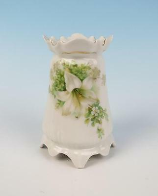 RS Prussia 4 Footed Muffineer Sugar Shaker w/ White Orchid Porcelain R.S. Hatpin