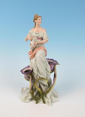 Antique German Art Nouveau Maiden Candle Holder Figurine Schierholz Porcelain