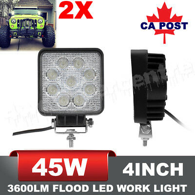 Pair 4INCH 45W CREE FLOOD LED Work Lights Offroad 12V 24V Fog Lamp Replace 27W