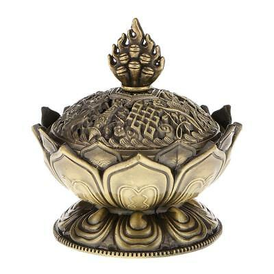 Vintage Lotus Backflow Smoke Incense Burner Censer Stick Cone Holder Bronze